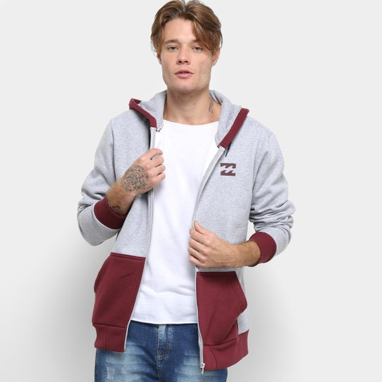 Moletom Billabong All Day II Capuz Masculino - Cinza e vinho ... 3389b18429d