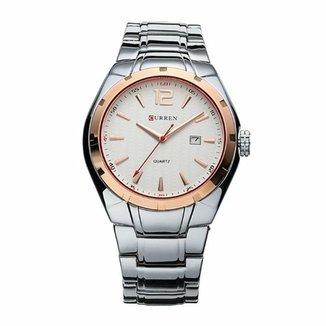 832daa83a29 Relógio Curren Analógico 8103 Dourado e Branco