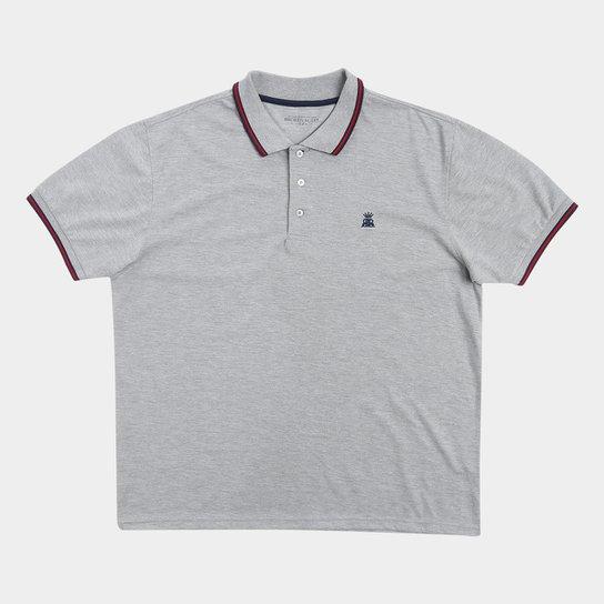 34e557c5b1 Camisa Polo Broken Rules Plus Size Bordado Masculina - Cinza Claro ...