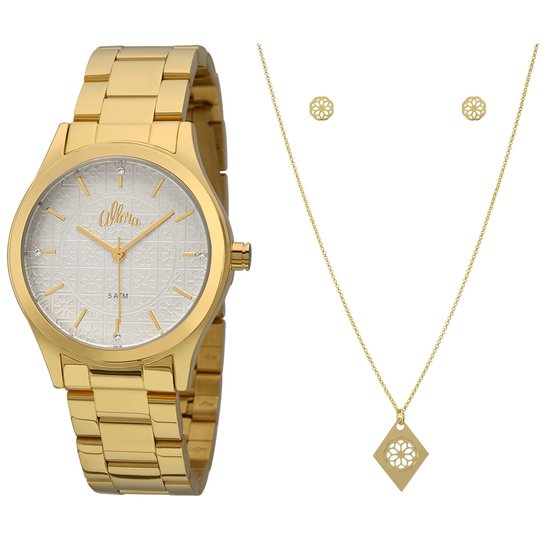 af73f23bd89 Kit Relógio Allora Feminino Flores Geométricas - Dourado+Branco
