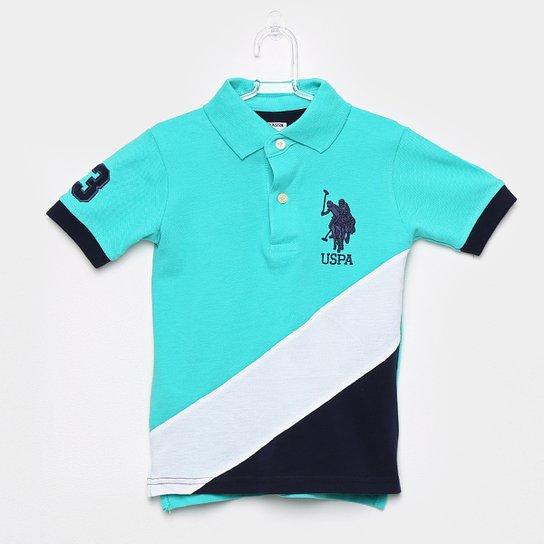 Camisa Polo Infantil U.S.Polo Assn Patch Masculina - Azul Piscina ... 976422c665c77