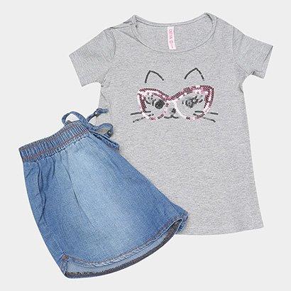 Conjunto de Blusa e Short Jeans Infantil Cativa Feminino