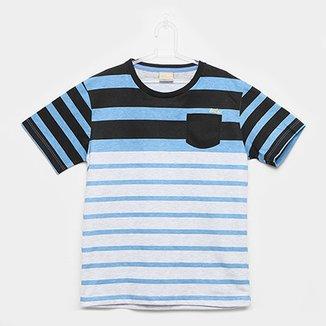 Camiseta Infantil Milon Listrada Bolso Masculina a6e3ee55ad9