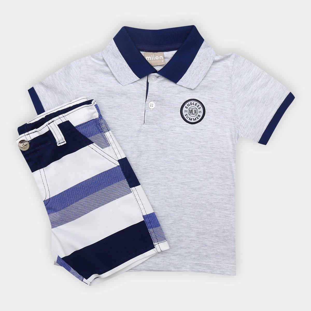 bf2c31a41a27d6 Conjunto de Camisa Polo + Bermuda Infantil Milon Masculino - Tam: 6A ...