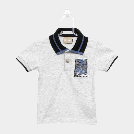 479ed8b53 Camisa Polo Infantil Milon Estampa Marinheiro Masculina - Cinza Claro