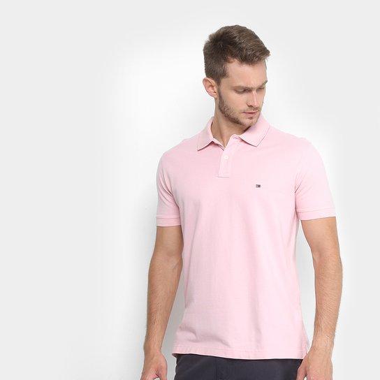 40bff58d96 Camisa Polo Tommy Hilfiger Piquet Básica Regular Fit Masculina - Rosa Claro