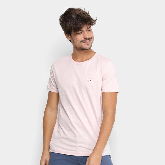 ae865f7c66 Camiseta Tommy Hilfiger Básica Masculina - Rosa Claro