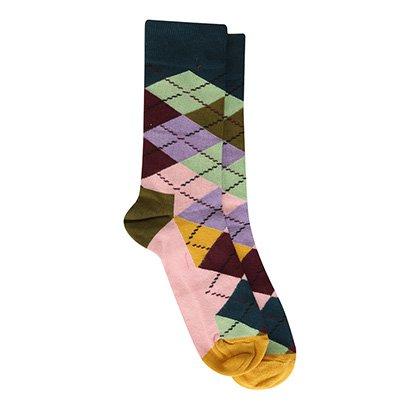 Meia Happy Socks Cano Alto Argyle Estampada Masculina