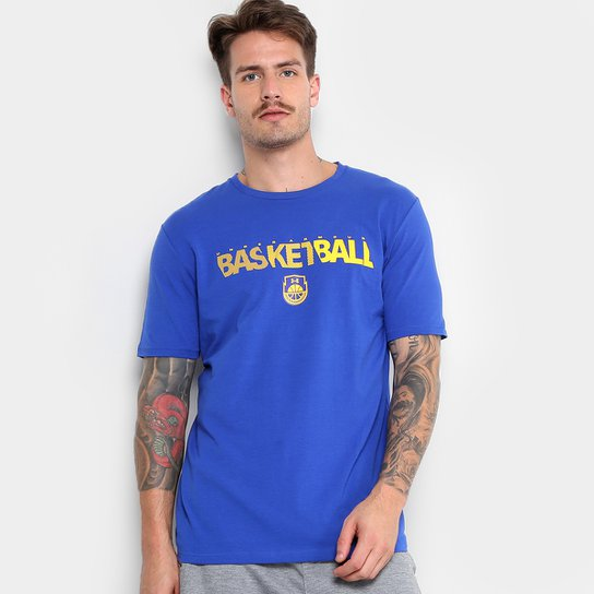 ed48c115ec3ee Camiseta Under Armour Wordmark SS Masculina - Azul e amarelo ...