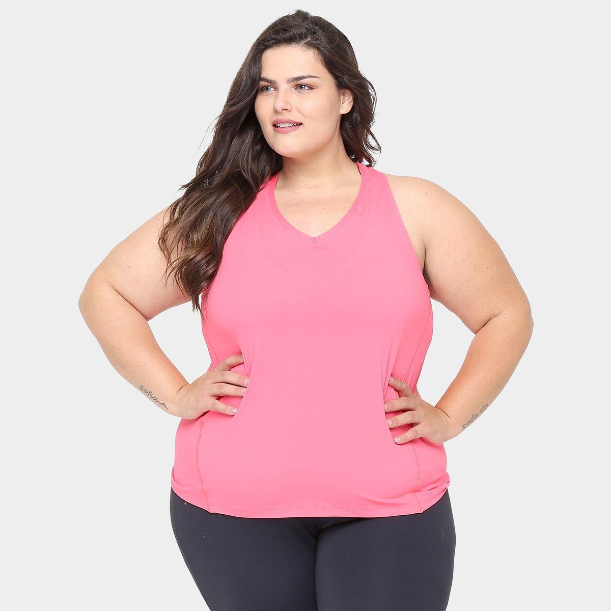 40bc9fc00d Camisetas Plus Size Regata Plus Size GONEW Feminina