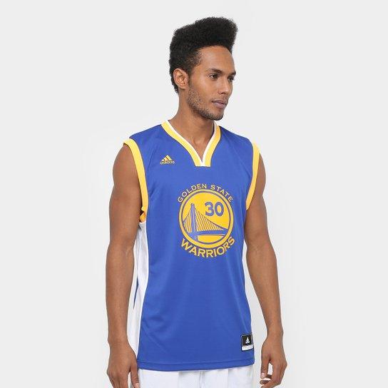da24c8b508 Camiseta Regata Adidas NBA Golden State Warriors Curry Masculina -  Azul+amarelo