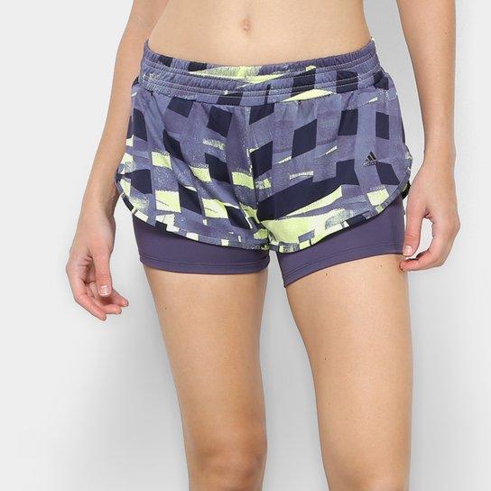 d045244f4d5 Short Adidas Dois em Um Graphic Feminino - Azul e amarelo - Compre ...
