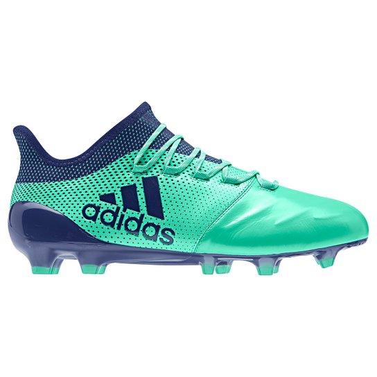 dc0cdf8f1f4ff Chuteira Campo Adidas Couro X 17 1 Fg - Verde Claro e Azul | Netshoes