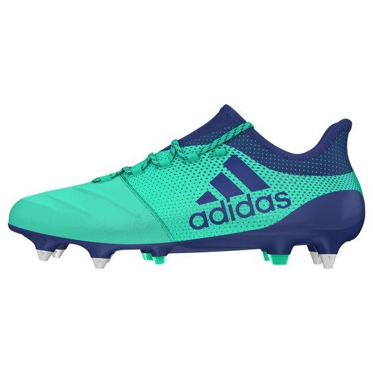 798496475db66 Chuteira Campo Adidas Couro X 17 1 SG - Verde Claro e Azul | Netshoes
