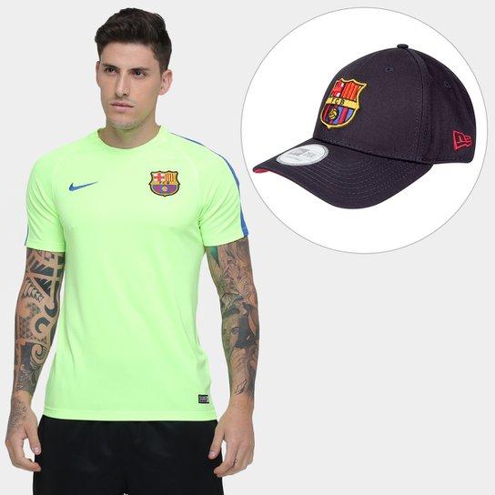 Kit Camisa Nike Barcelona Treino + Boné New Era 940 Team Fc Barcelona -  Verde Claro 81a5cc53cecf0