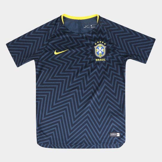 Camisa Seleção Brasil Juvenil 2018 Torcedor Treino Nike - Azul+amarelo 6c58d894e273b