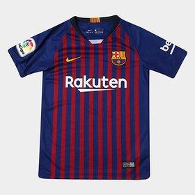 a5550a88cb Camisa Nike Barcelona Home 16 17 nº 10 Messi Infantil Com Patrocínio ...