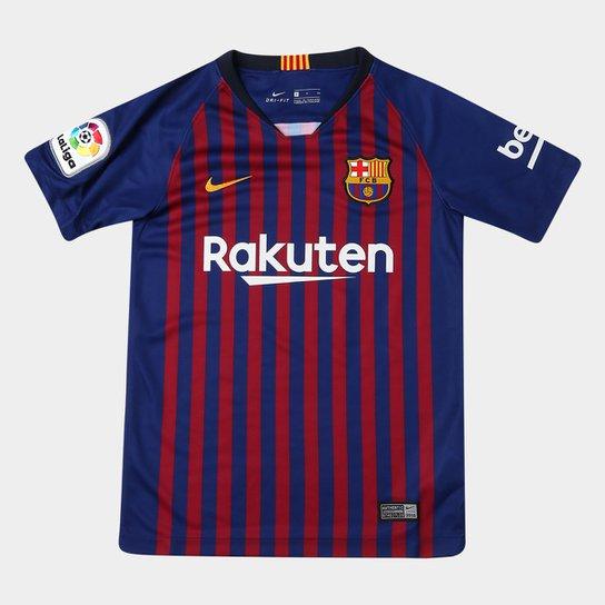 280f46921c Camisa Barcelona Juvenil Home 2018 s n° Torcedor Nike - Azul e Grená ...