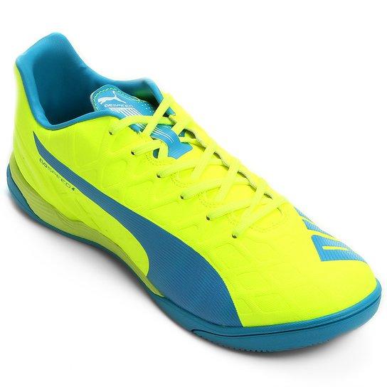 Chuteira Futsal Puma Evospeed 4.4 IT Masculina - Azul Turquesa+Amarelo a18e81d0b66f8