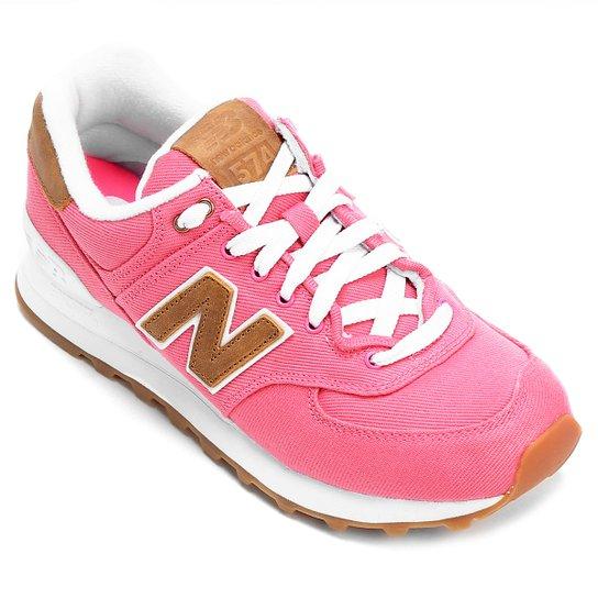 fad59026f30 Tênis New Balance W 574 Canvas Feminino - Rosa e Bege - Compre Agora ...