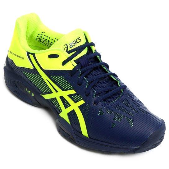 d79e16656 Tênis Asics Gel-Solution Speed - Marinho+Verde Limão