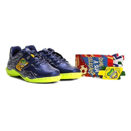 Chuteira Futsal Infantil Penalty Personalizável Freestyle Seleções -  Azul+amarelo 852de382584c2