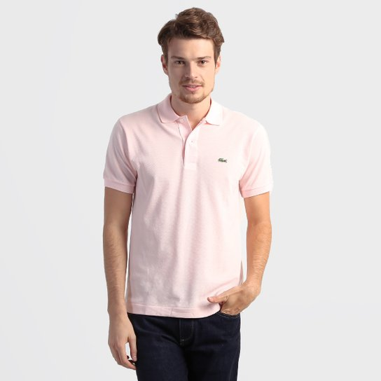 26a344ab70 Camisa Polo Lacoste Original Fit Masculina - Rosa Claro