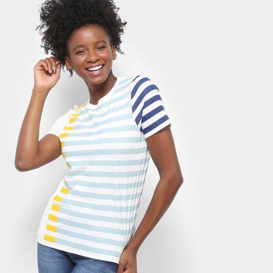 479a058ea1de6 Camiseta Lacoste Listrada Feminina - Azul e amarelo - Compre Agora ...