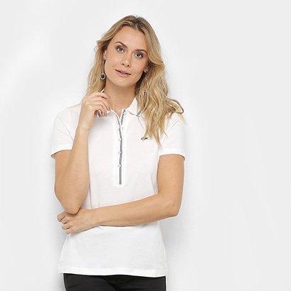 Camisa Polo Lacoste Gola Listrada Botões Feminina
