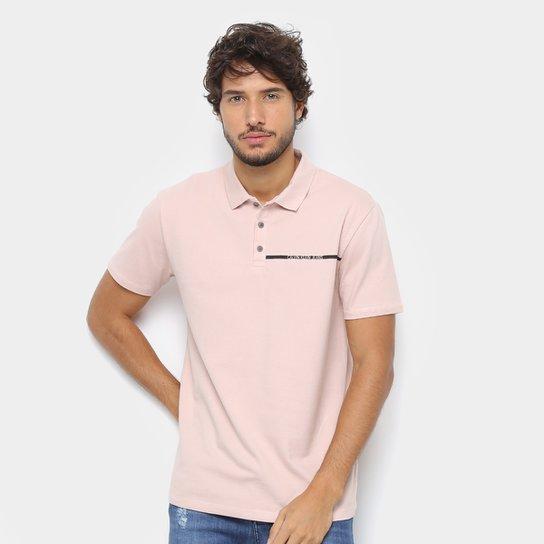 2f8f5abe97cc6 Camisa Polo Calvin Klein Logo Palito Masculina - Rosa Claro - Compre ...