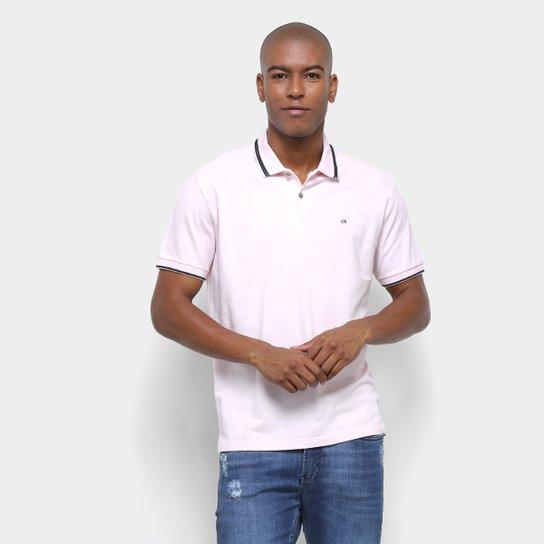 230ba563ae Camisa Polo Calvin Klein Regular Listra 3D Masculina - Rosa Claro ...