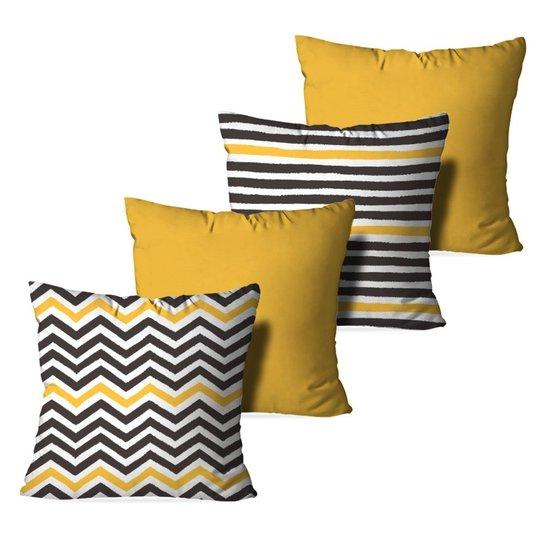 385f02ca60ec0b Kit 4 Almofadas Decorativas Abstrato Stripes - Azul e amarelo