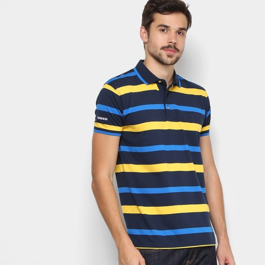 Camisa Polo Aleatory Listrada Fio Tinto Logo Bordada Masculina - Azul +amarelo c6bf7d04e7bf8