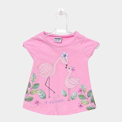 Blusa Infantil Fakini Kids Flamingo Te Amo Mamãe Feminina