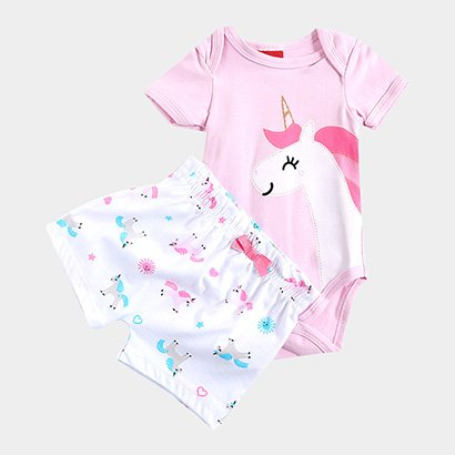 Conjunto Infantil Kyly Camiseta e Short Unicórnio Feminino