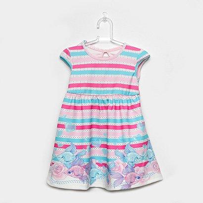 Vestido Infantil Cativa Curto Evasê Listrado Floral