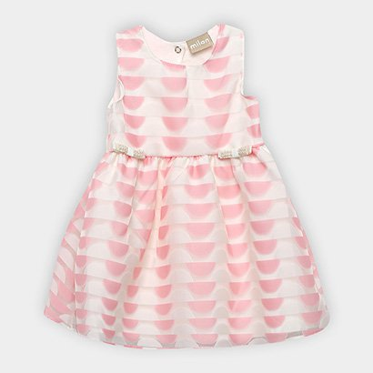 Vestido Infantil Milon Cavado Evasê Estampado Laços Pérolas