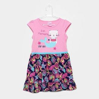 Vestido Infantil For Girl Curto Evasê Estampa Conchas