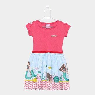 48b141cc4 Vestido Infantil For Girl Curto Evasê Estampa Sereia