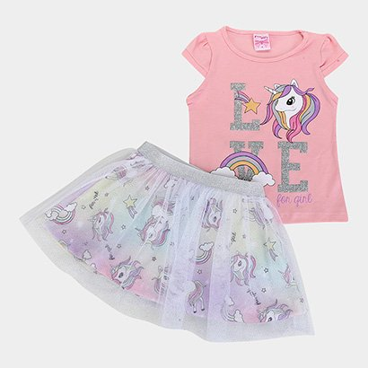 Conjunto Infantil For Girl Blusa Cotton E Saia Crepe C/ Tule Unicórnio Feminino