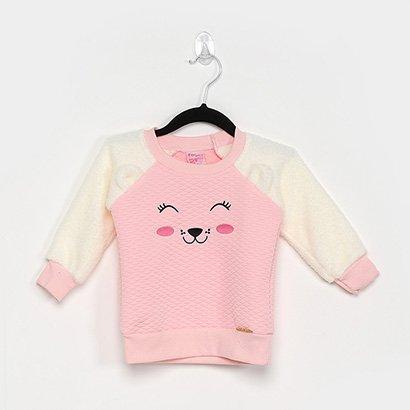Blusa Infantil For Girl Matelassê Pelinho Feminina