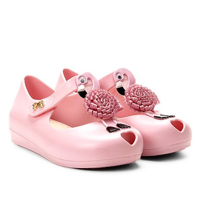 Sapatilha Infantil World Colors Glitter Aplique Flamingo Velcro Feminina