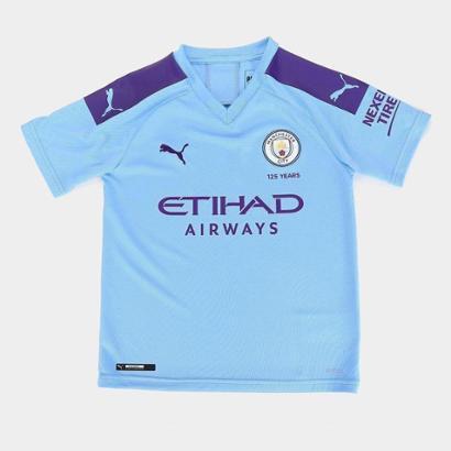 Camisa Manchester City Infantil Home 19/20 s/n° Torcedor Puma