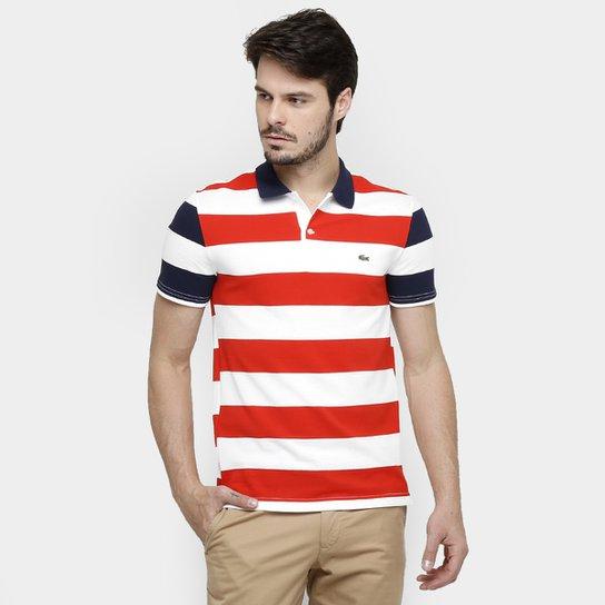 8a928a34f668e Camisas Polo Lacoste Piquet Listras Color - Vermelho+Marinho