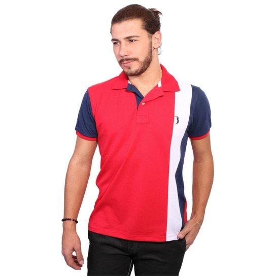Camisa Polo Golf Club Listrada Masculina - Vermelho e Marinho ... ad7e0eec3b549