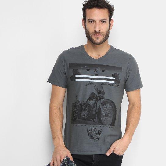 27e85c9462 Camiseta Kohmar Gola V Estampada Motocycle Masculina - Mescla Escuro