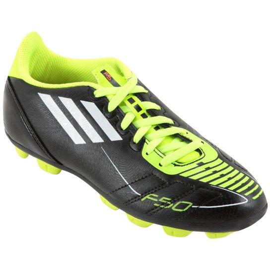 Chuteira Adidas F5 TRX HG Infantil - Preto+Verde Limão 55d257b503f15