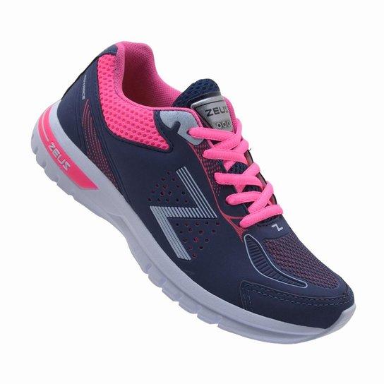 93f203d99a8c5 Tênis Esportivo Feminino Zeus Caminhada - Marinho e Pink - Compre ...