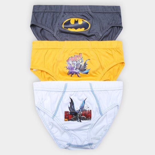 38c0c48260a130 Kit Cueca Slip Infantil Lupo Batman 3 Peças - Branco e Amarelo