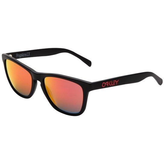 248d7fdfc Óculos Oakley Frogskins LX - Iridium - Preto+Vermelho